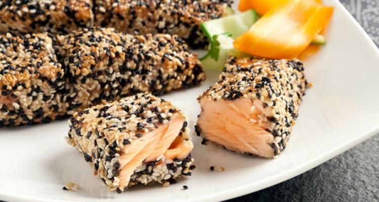 salmone in crosta di sesamo