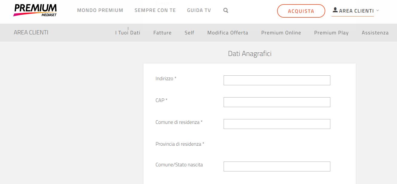 Come attivare premium play on demand inserimento dati for Premium on demand