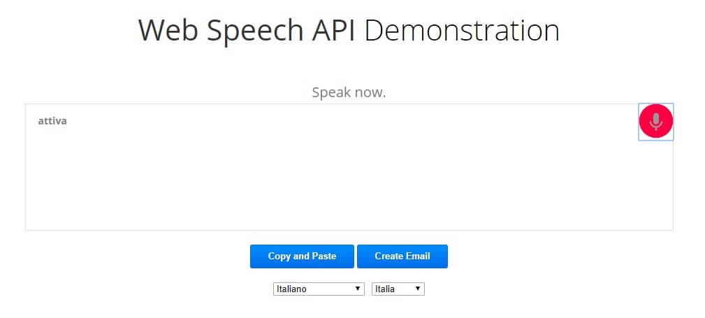 Come dettare al PC web speech API microfono attivo