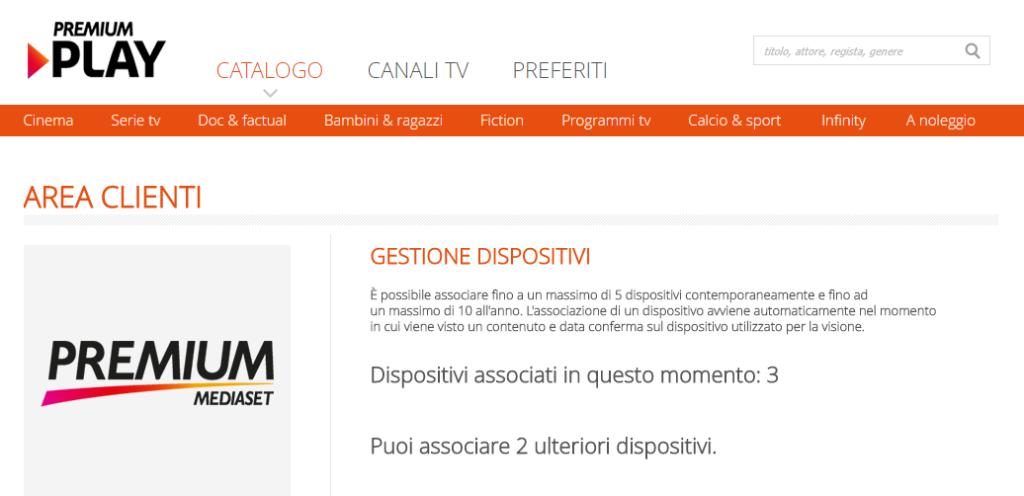 Gestione dispositivi Premium Play