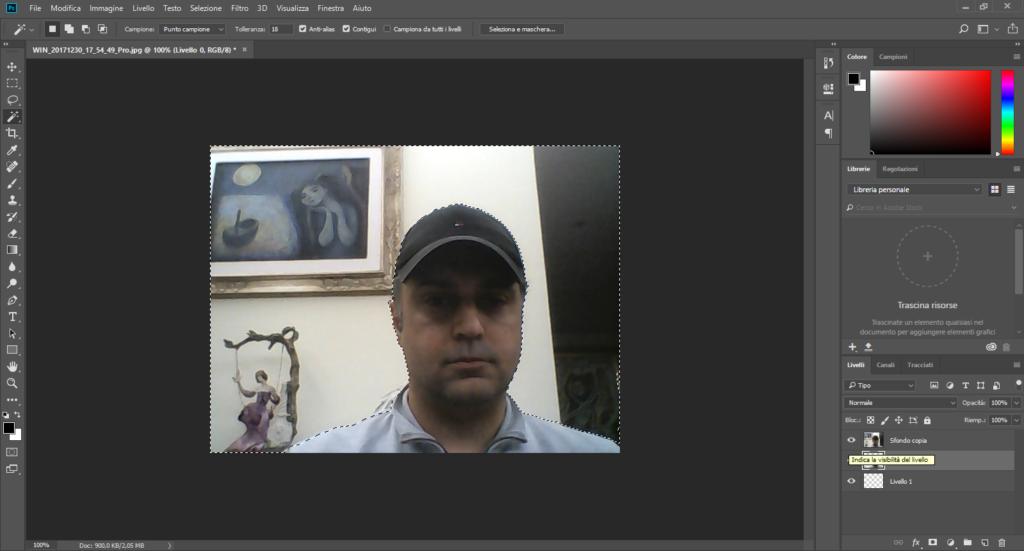 Photoshop - Come rendere lo sfondo trasparente di una foto - Selezione