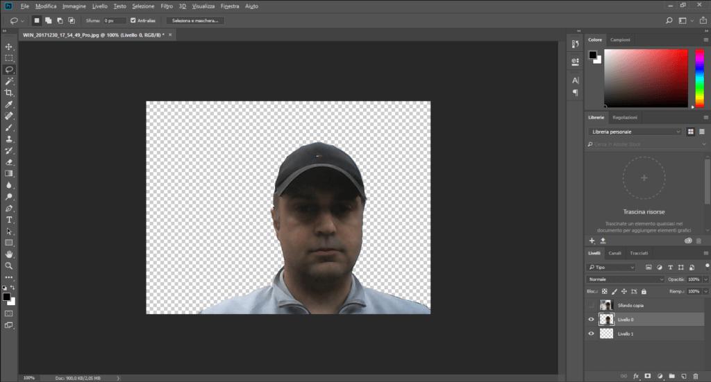 Photoshop - Come rendere lo sfondo trasparente di una foto - Selezione cancellata.PNG