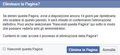 Come cancellare pagina Facebook - Eliminare la pagina