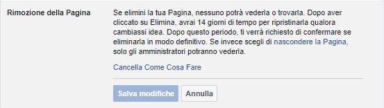 Come cancellare pagina Facebook - Rimozione della pagina