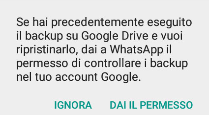 Come fare il backup di WhatsApp ripristino 1