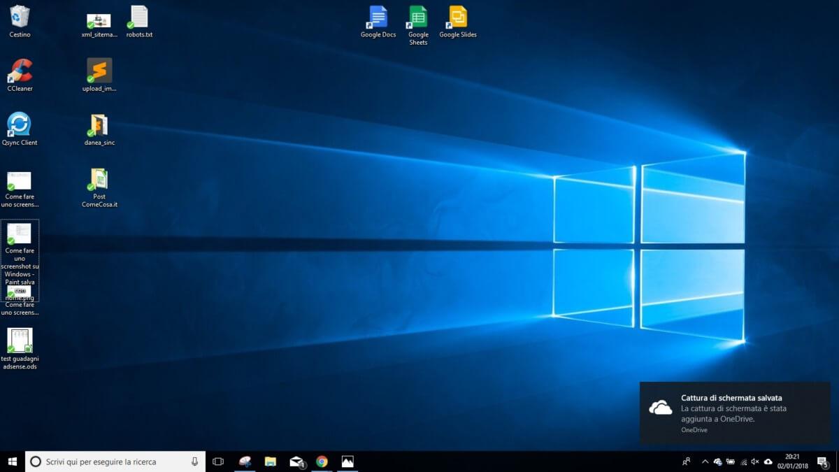 Come fare uno screenshot su Windows 10 - Win + Print Screen