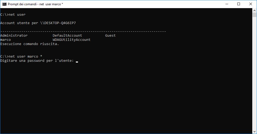 Come resettare la password di Windows 10 - diskpart