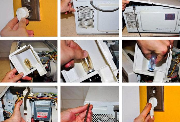 Come sostituire la lampadina del forno a microonde