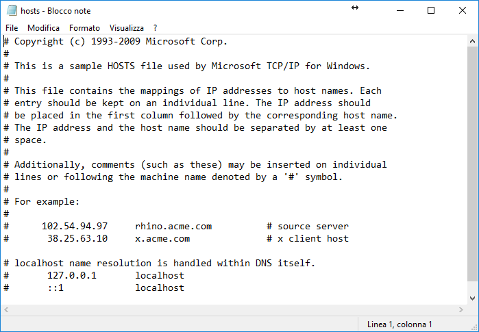 Come Modificare il file Hosts - Windows