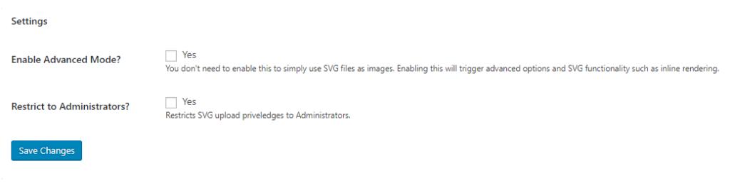 Come aggiungere SVG a WordPress - SVG Support opzioni