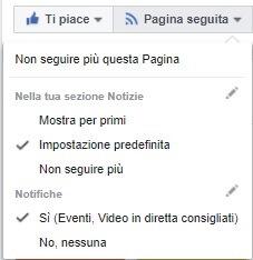 Come leggere tutti i messaggi che pubblica una pagina Facebook - Pagina seguita opzioni