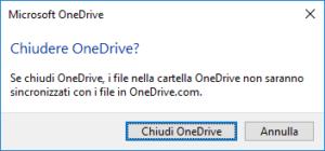 OneDrive - Chiudere OneDrive
