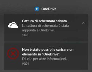 OneDrive notifica Errore